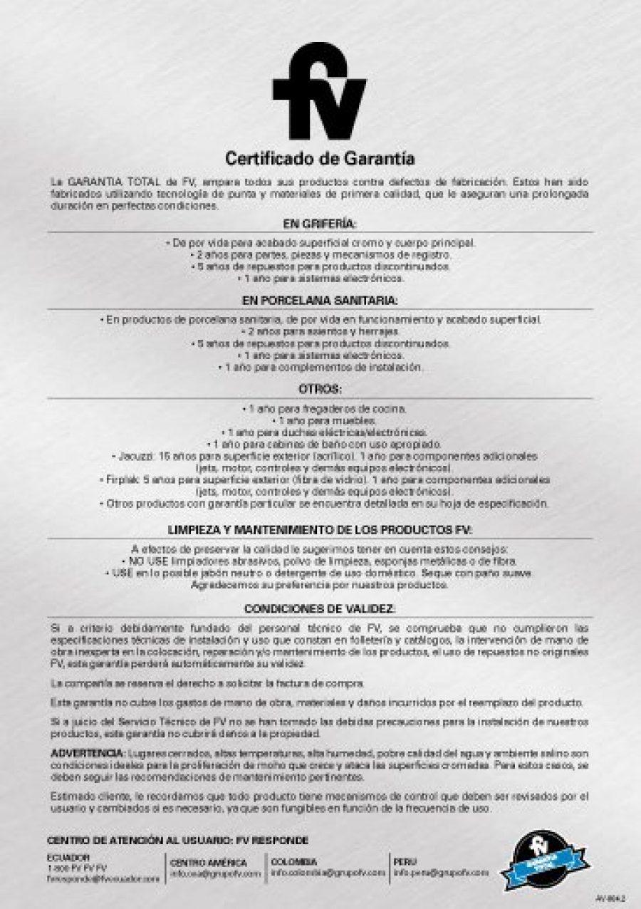 Certificado de Garantía FV