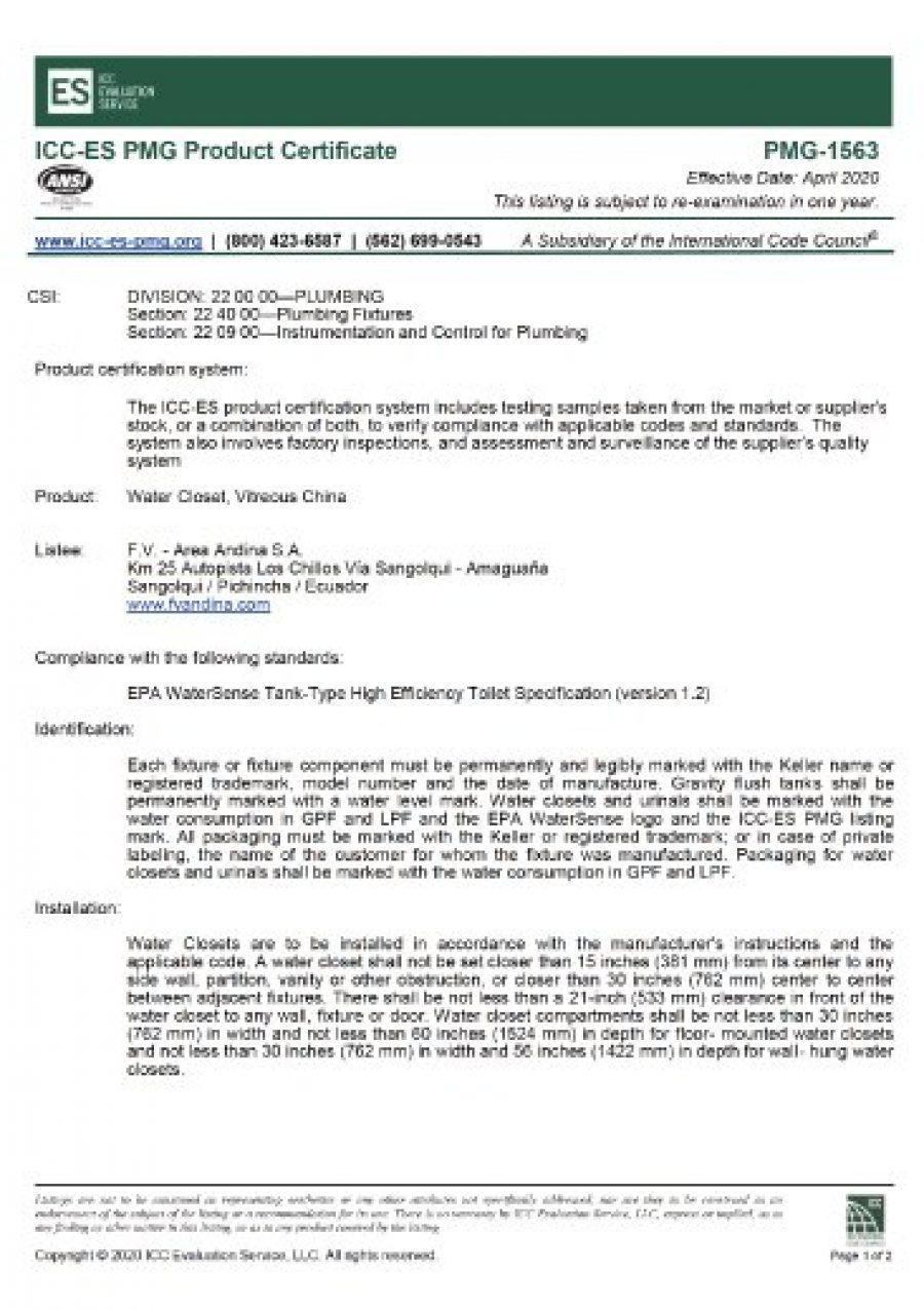 Certificado WATERSENSE Inodoro Greco